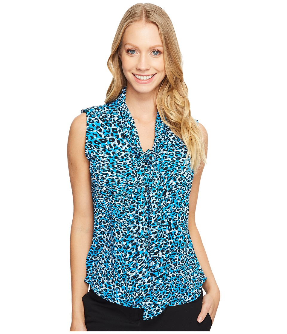 Calvin Klein - Printed Tie Neck Top (Adriatic/Multi) Women's Clothing