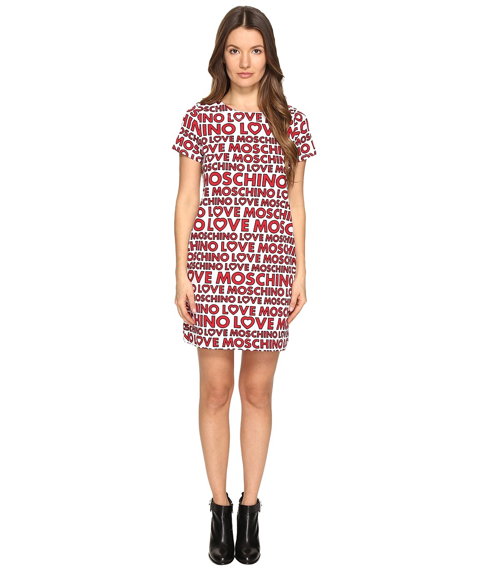 LOVE Moschino - T-Shirt Dress (White Multi) Women's Dress