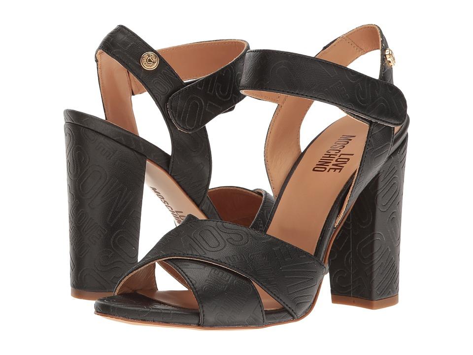LOVE Moschino Embossed Logo Heel (Black) High Heels