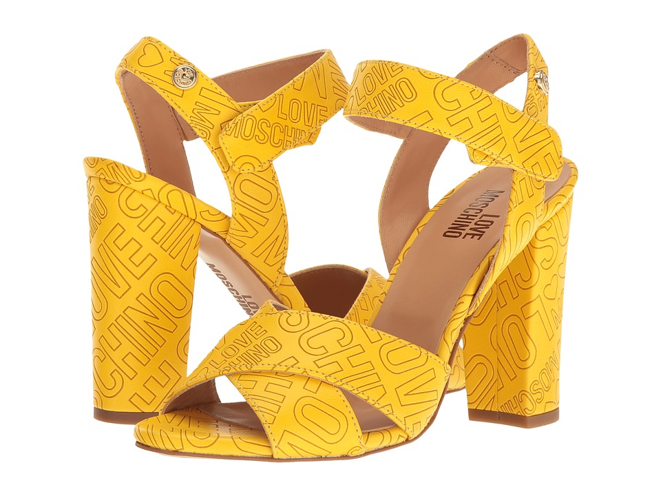 LOVE Moschino - Embossed Logo Heel (Yellow) High Heels