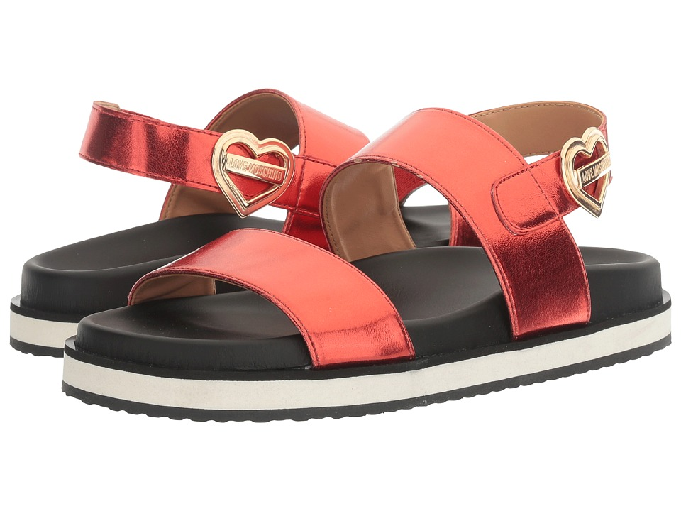LOVE Moschino - Metal Heart Buckle Sandal (Red) Women's Shoes