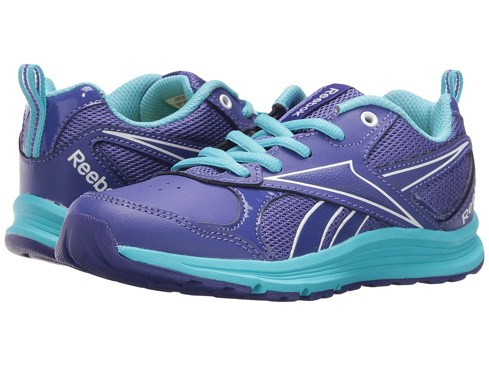 Reebok Kids - Almotio RS Brights (Little Kid/Big Kid) (Ultima Purple/Neon Blue/White) Girl's Shoes