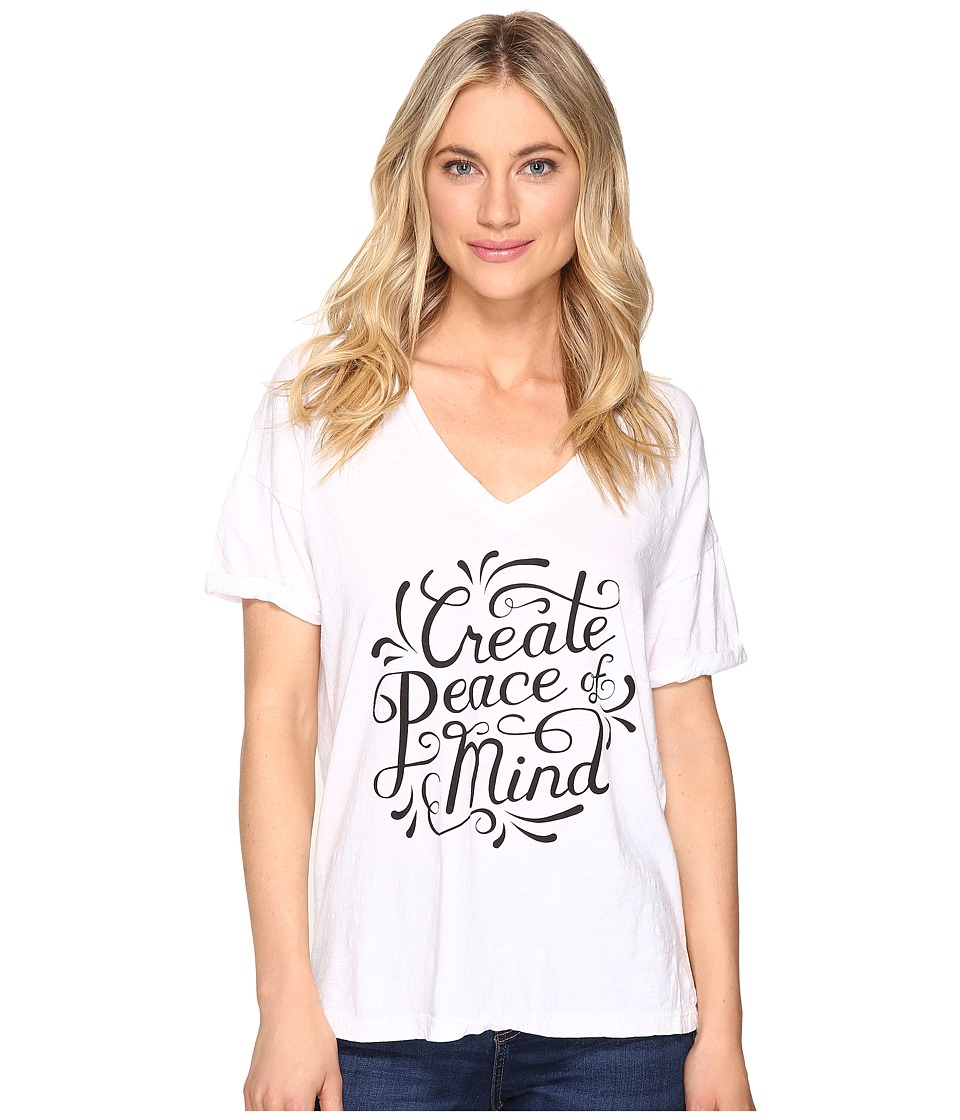 The Original Retro Brand - Create Peace of Mind Boyfriend V-Neck (White) Women's Clothing