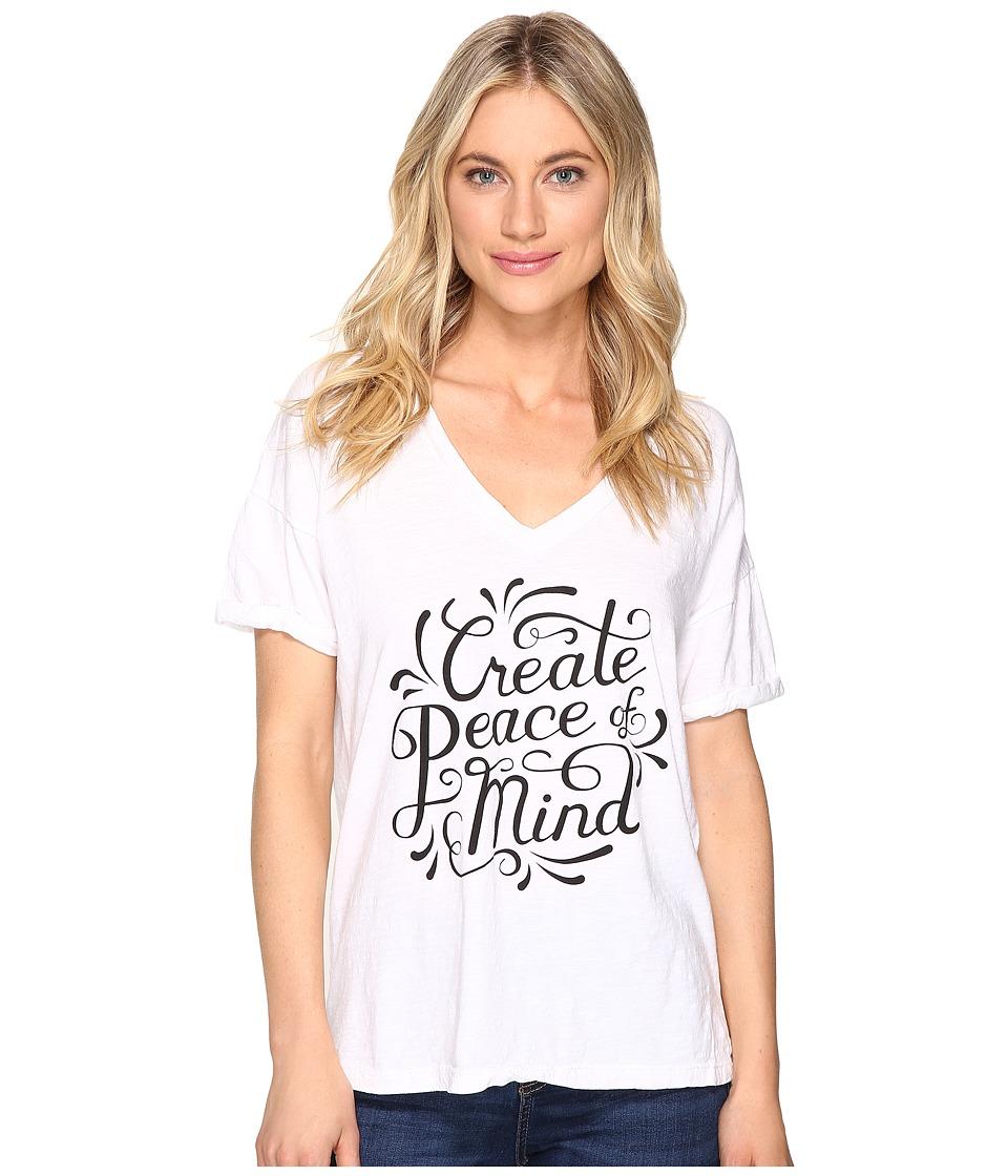 The Original Retro Brand - Create Peace of Mind Boyfriend V-Neck (White) Women's Clothing