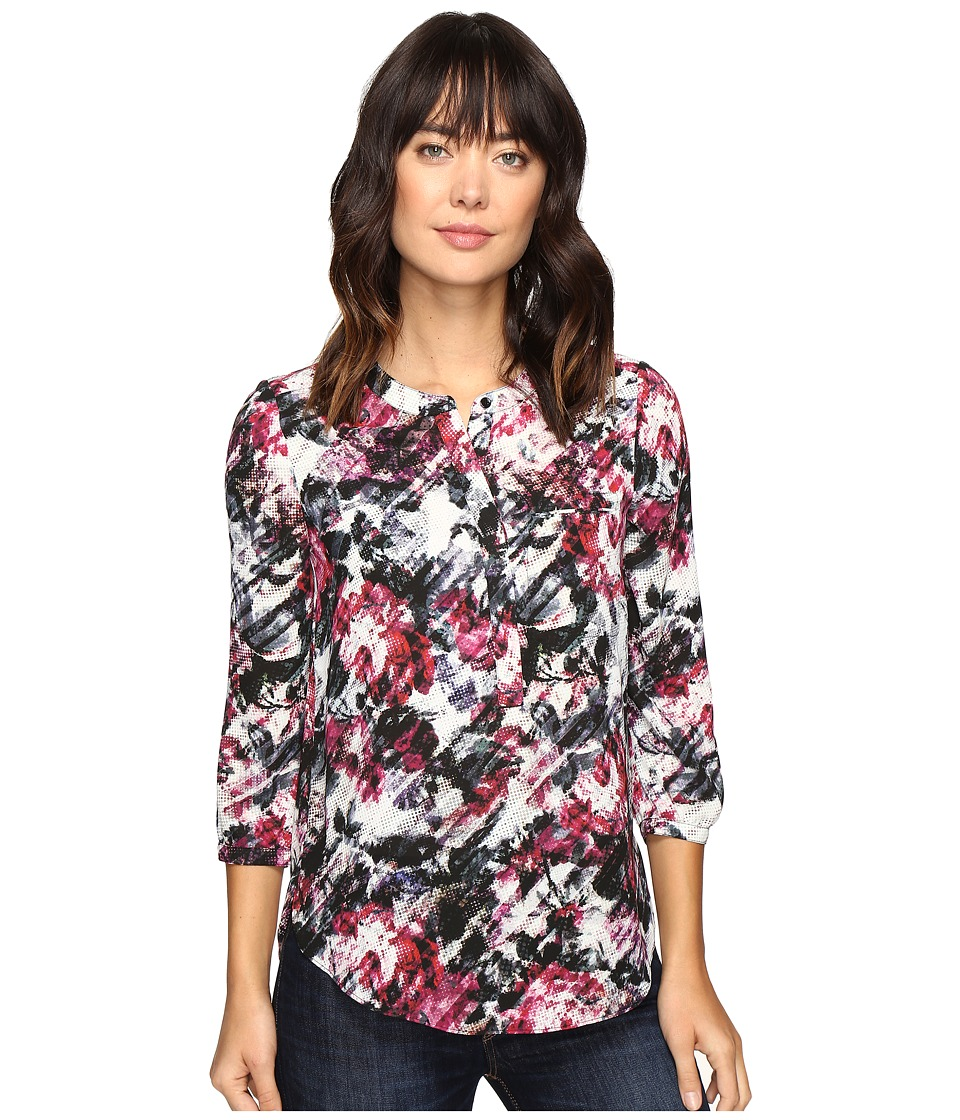 NYDJ - 3/4 Sleeve Pleat Back (Rose Paper Haze) Women's Blouse