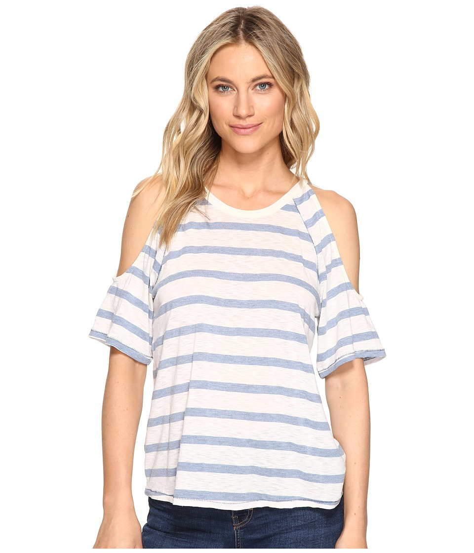 Splendid - Cliffbrook Stripe Open Shoulder Top (Heather Chambray) Women's Clothing