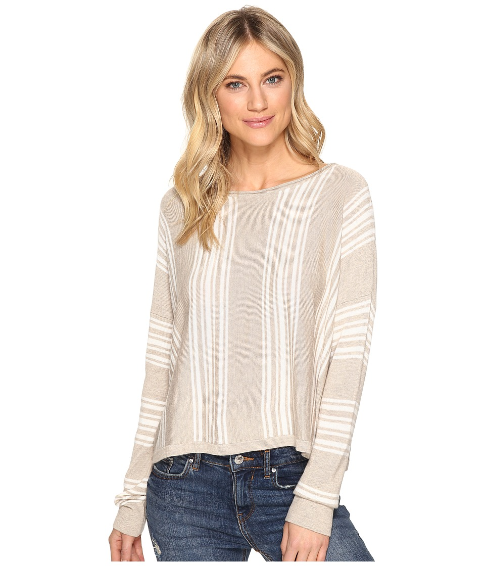 Splendid - Bayside Stripe High-Low Pullover (Heather Oatmeal/Natural) Women's Clothing
