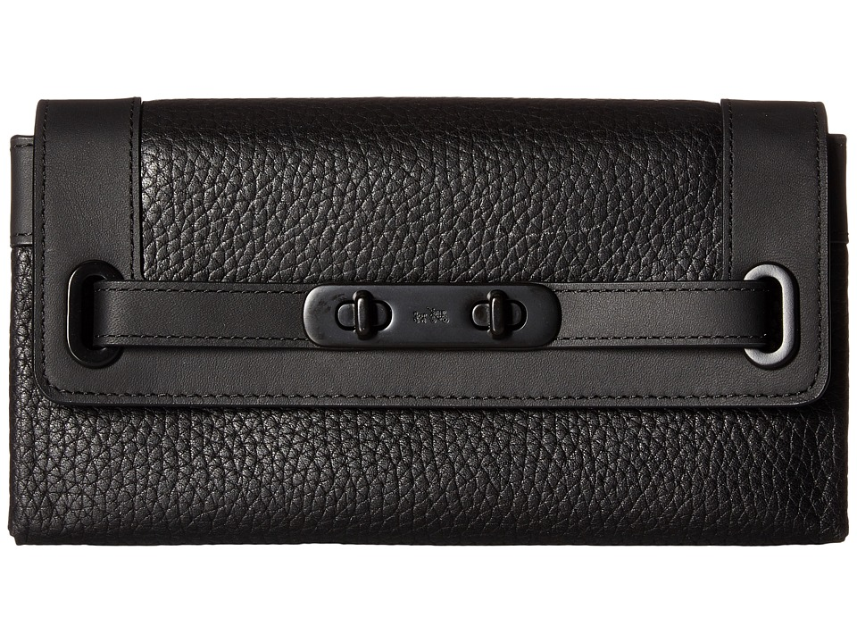 COACH - Pebbled Leather Coach Swagger Wallet (Black) Wallet Handbags