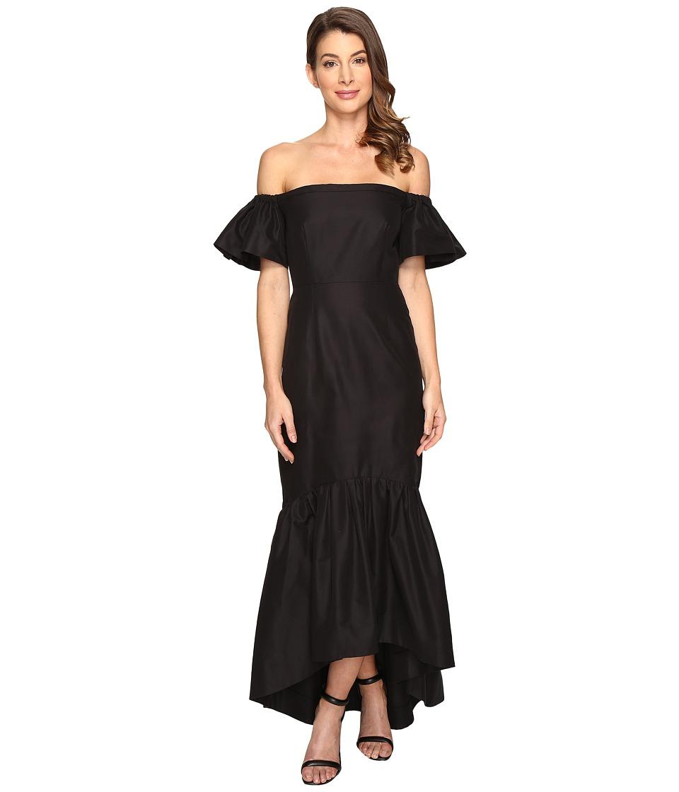 JILL JILL STUART - Silk/Cotton Faille Strapless Off the Shoulder Dress (Black) Women's Dress
