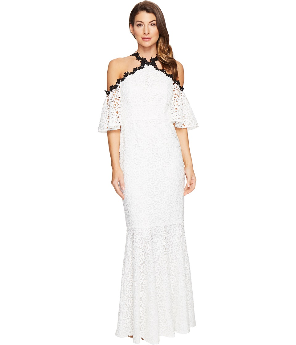 JILL JILL STUART - Chemical Lace Halter Off the Shoulder Dress (Off-White/Black) Women's Dress
