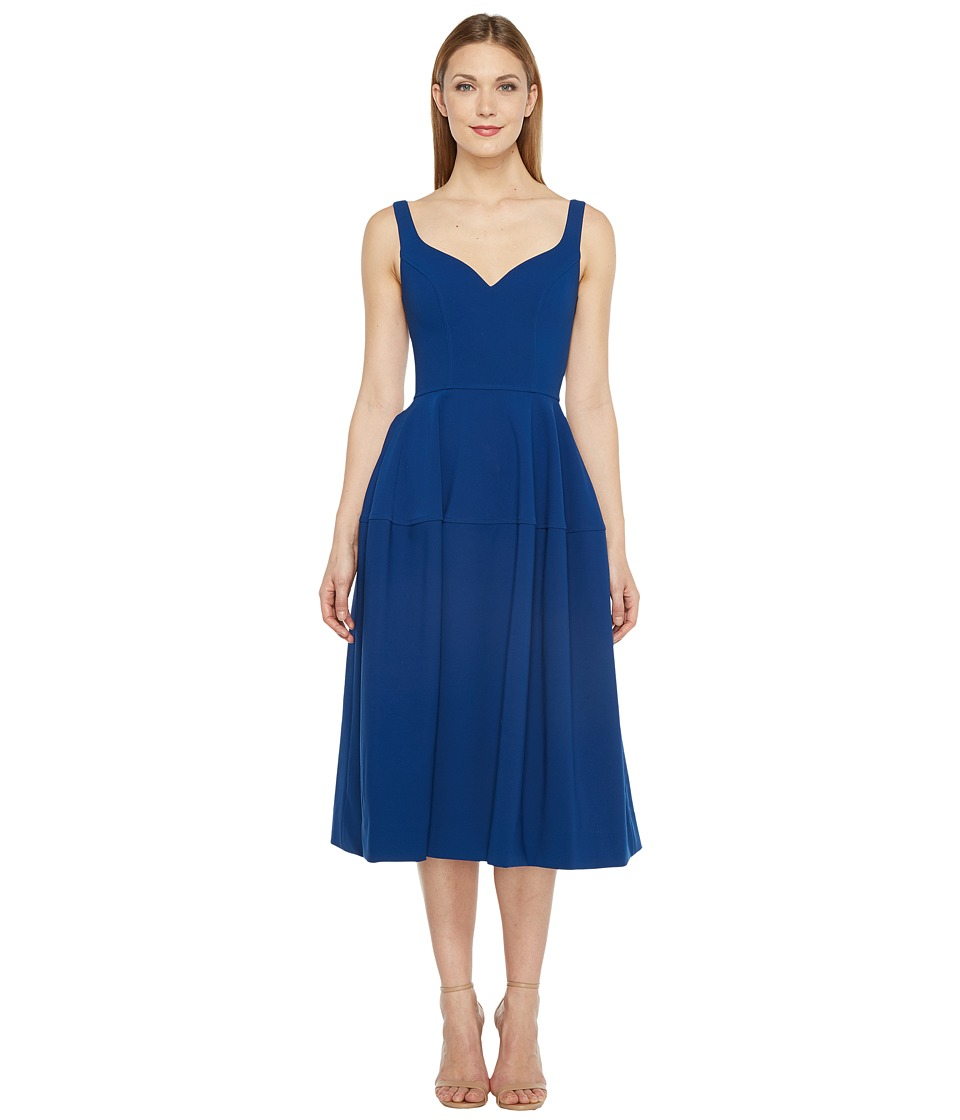 JILL JILL STUART - Midi Sweetheart Crepe Fit Flare (Sapphire) Women's Dress