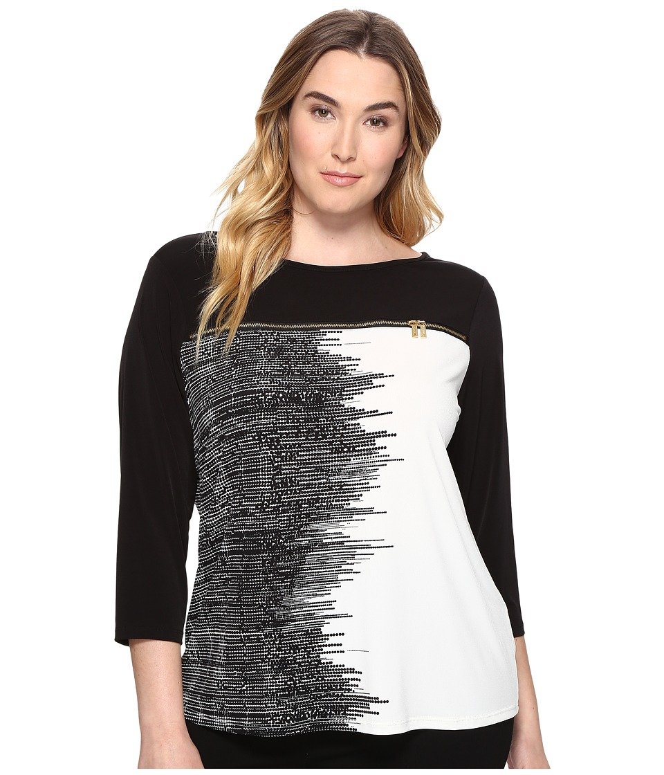 Calvin Klein Plus - Plus Size 3/4 Sleeve Print Top with Zipper (Black Stripe) Women's Clothing