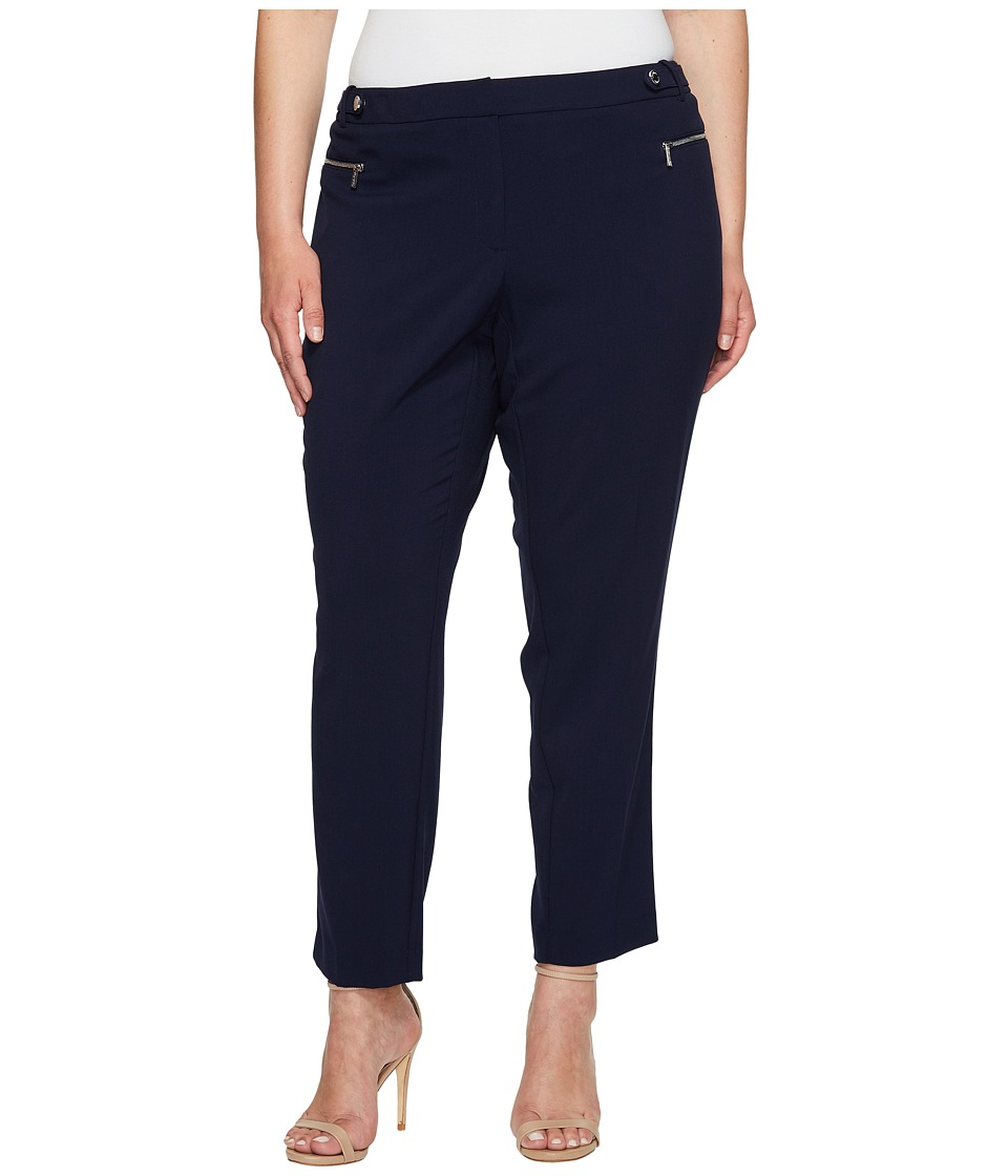 Calvin Klein Plus - Plus Size Straight Pants with Buckle Zip (Twilight) Women's Casual Pants