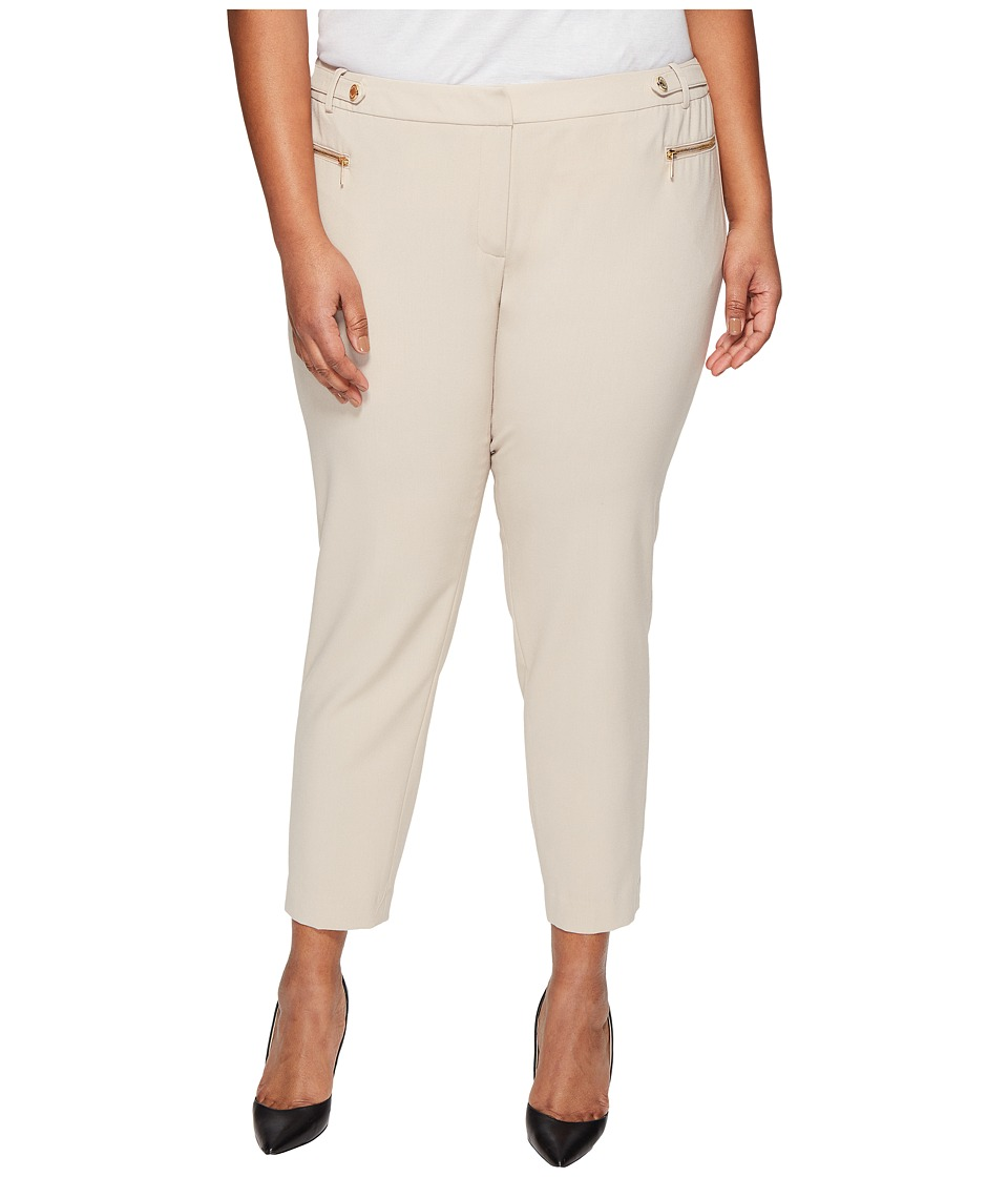 Calvin Klein Plus - Plus Size Straight Pants with Buckle Zip (Latte) Women's Casual Pants