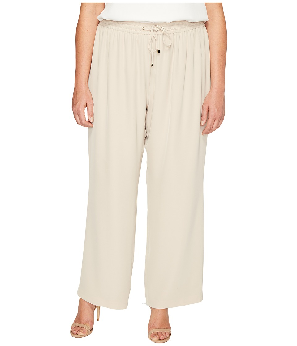 Calvin Klein Plus - Plus Size Wide Leg Pull-On Pants (Latte) Women's Casual Pants