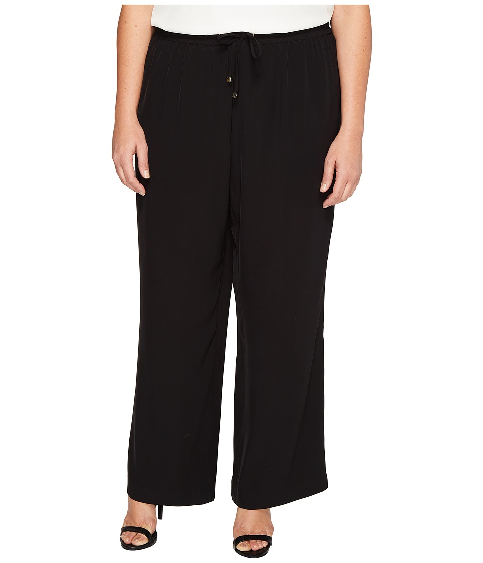 Calvin Klein Plus - Plus Size Wide Leg Pull-On Pants (Black) Women's Casual Pants