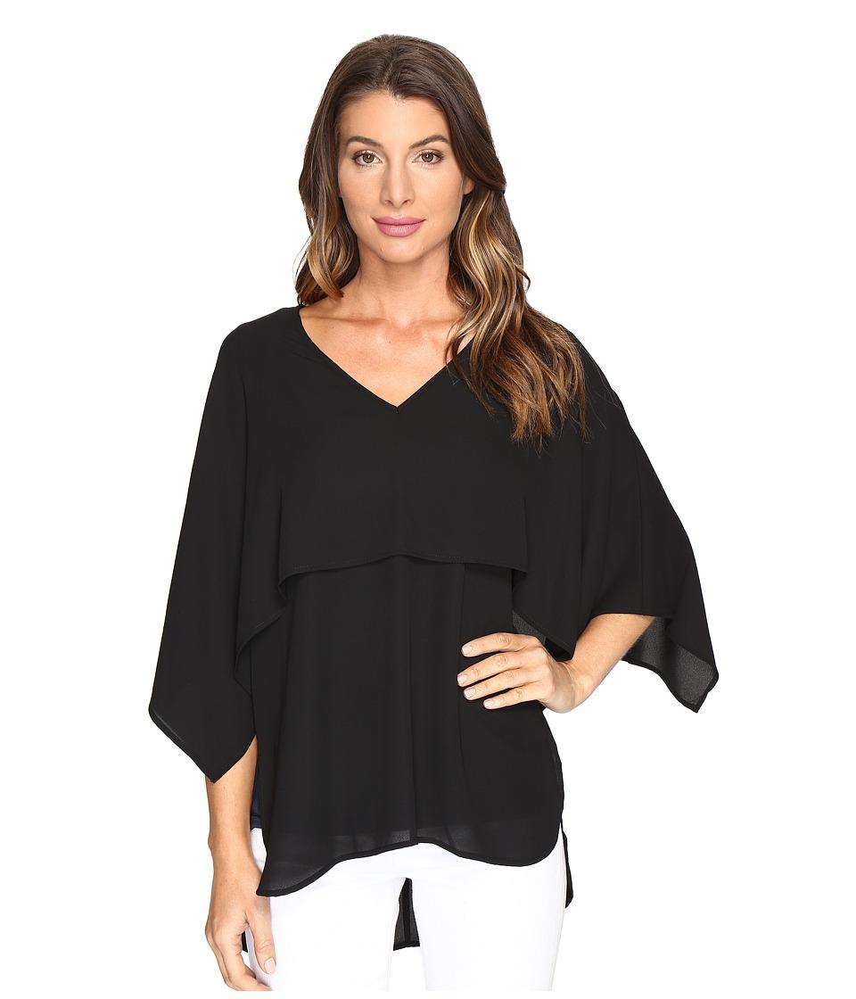Karen Kane - V-Neck Double Layer Top (Black) Women's Clothing