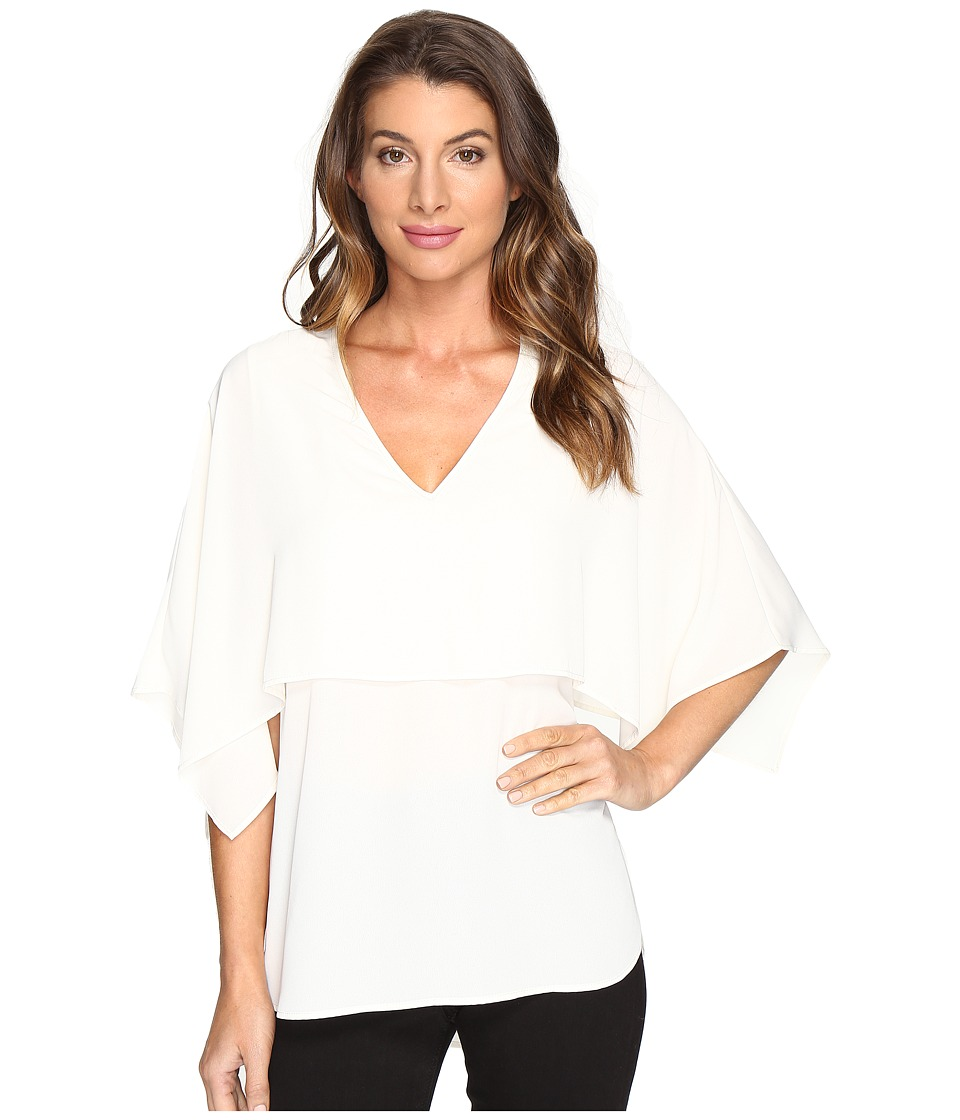 Karen Kane - V-Neck Double Layer Top (Cream) Women's Clothing