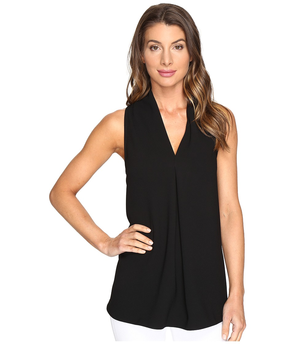 Karen Kane - Front Pleat Shirttail Top (Black) Women's Clothing