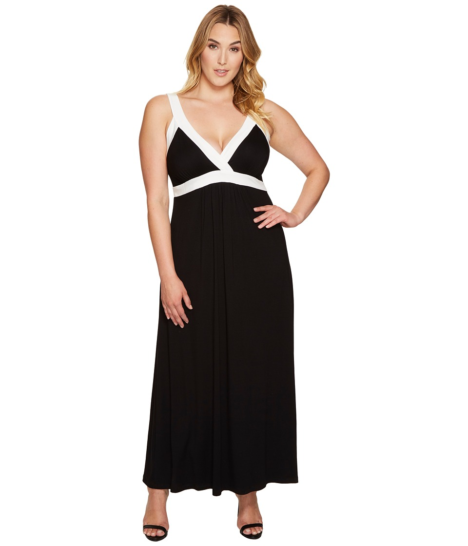 Karen Kane Plus - Plus Size Banded Maxi Dress (Black/Off-White) Women's Dress