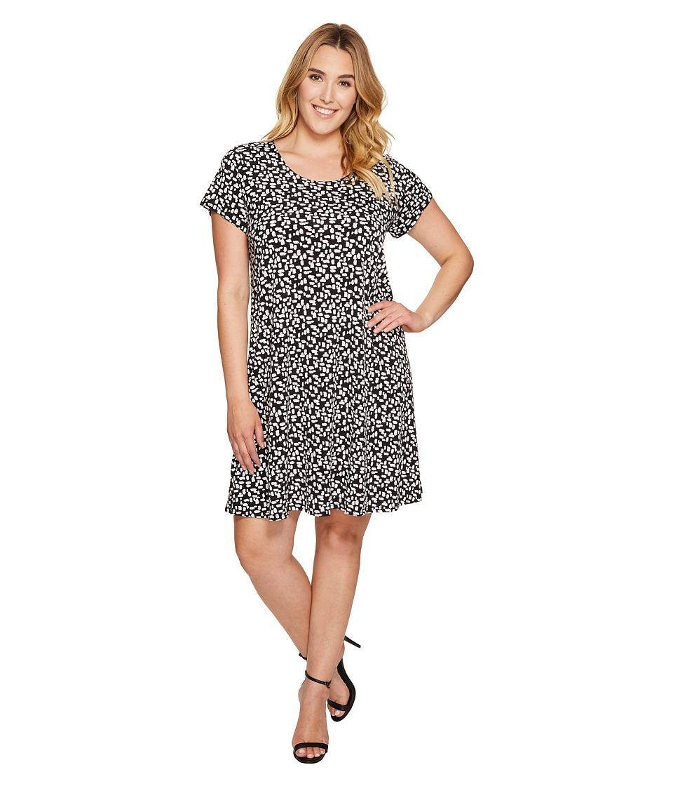 Karen Kane Plus - Plus Size Print Maggie Trapeze Dress (Black) Women's Dress