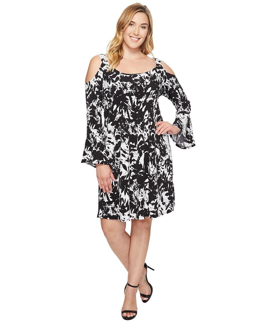 Karen Kane Plus - Plus Size Cold Shoulder Flare Sleeve Dress (Print) Women's Dress
