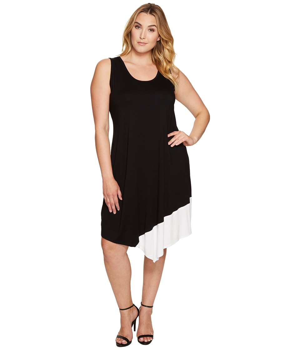 Karen Kane Plus - Plus Size Color Block Asymmetric Hem Tank Dress (Black/Off-White) Women's Dress