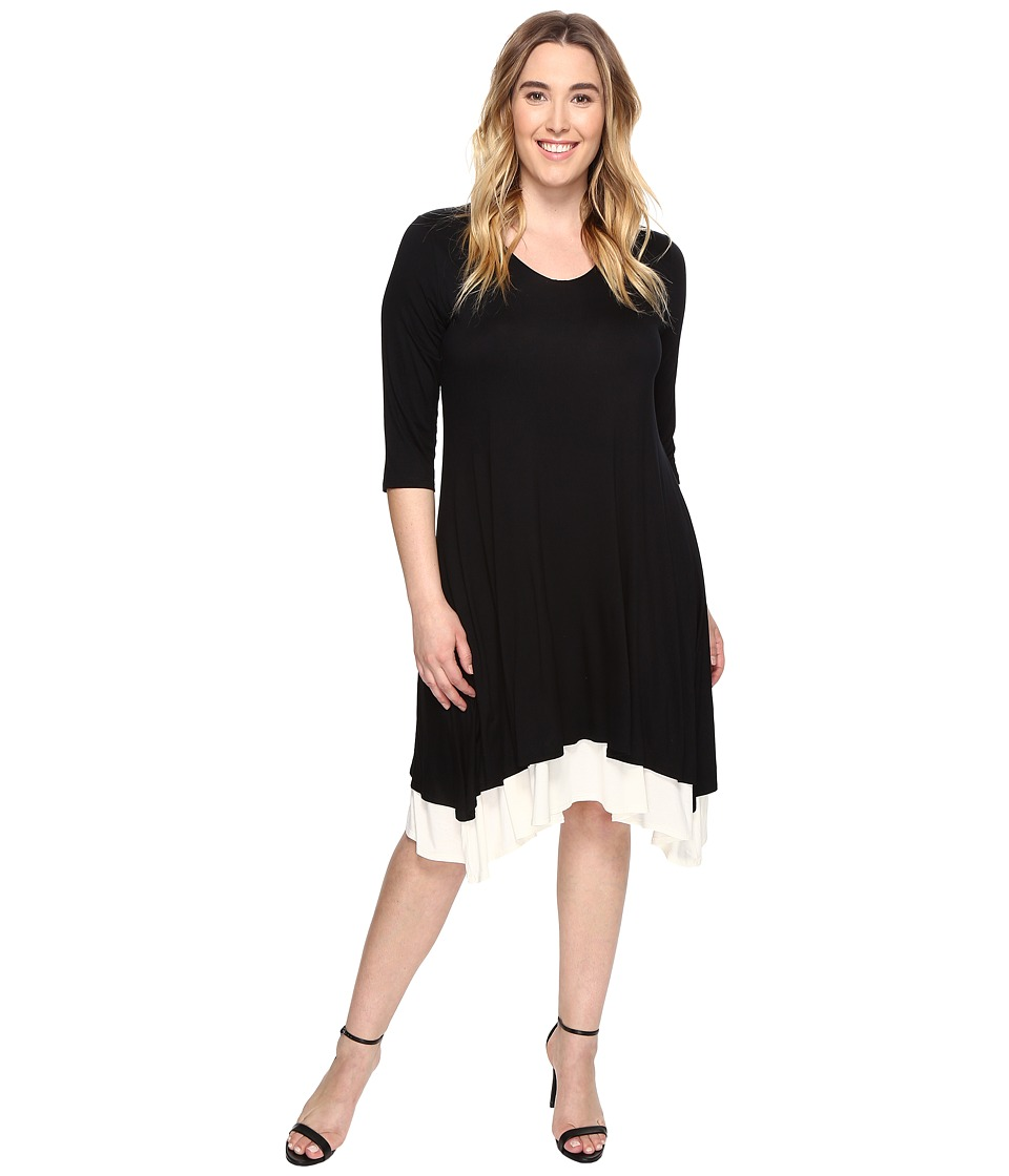 Karen Kane Plus - Plus Size Layered Handkerchief Hem Dress (Black) Women's Dress