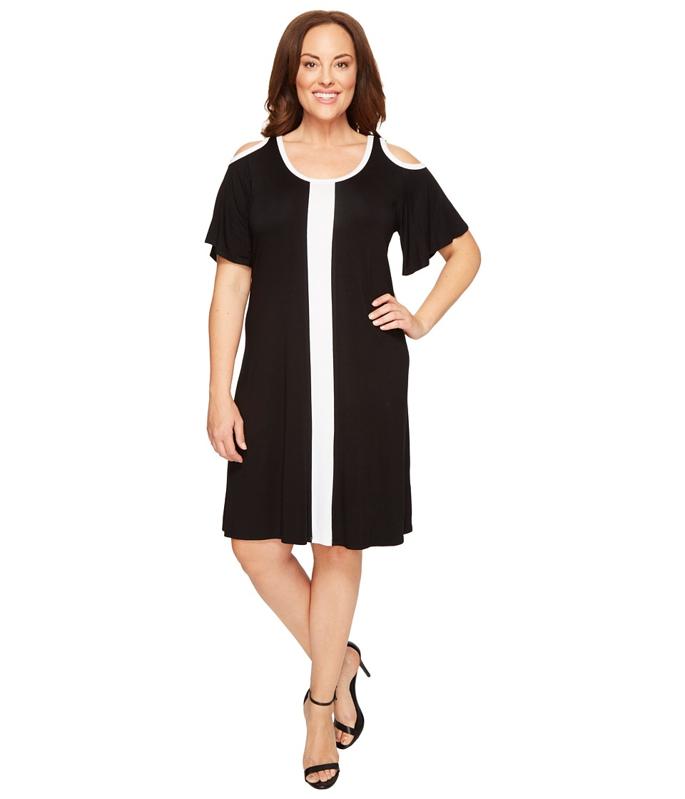 Karen Kane Plus - Plus Size Color Block Cold Shoulder Dress (Black/Off-White) Women's Dress