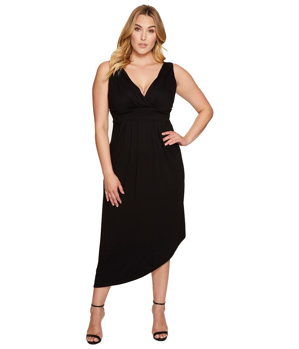 Karen Kane Plus - Plus Size Asymmetric Maxi Dress (Black) Women's Dress