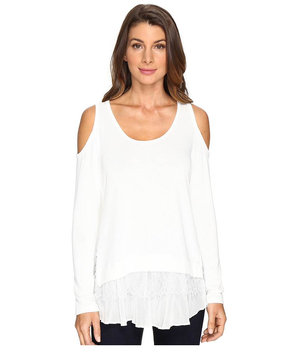 Karen Kane - Cold Shoulder Lace Inset Sweater (Cream) Women's Sweater