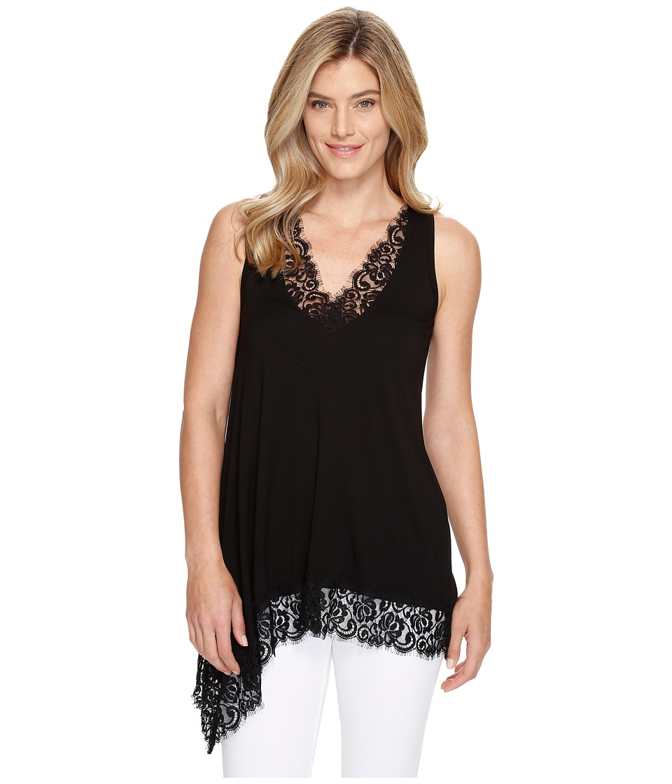 Karen Kane - Lace Trim Asymmetric Top (Black) Women's Clothing