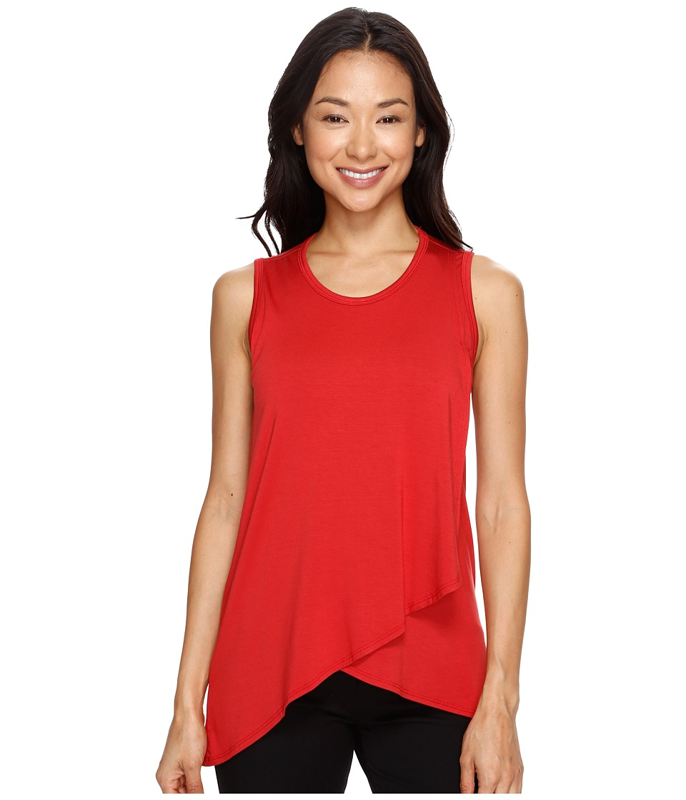 Karen Kane - Asymmetric Overlay Tank Top (Tomato) Women's Sleeveless