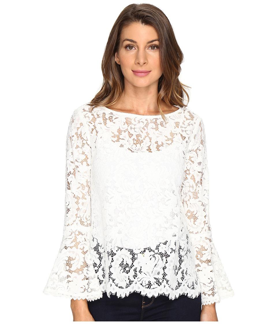 Karen Kane - Lace Bell Sleeve Top (Cream) Women's Clothing