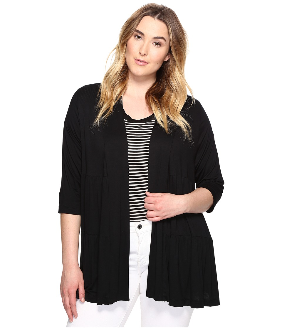 Karen Kane Plus - Plus Size Tiered Jacket (Black) Women's Jacket