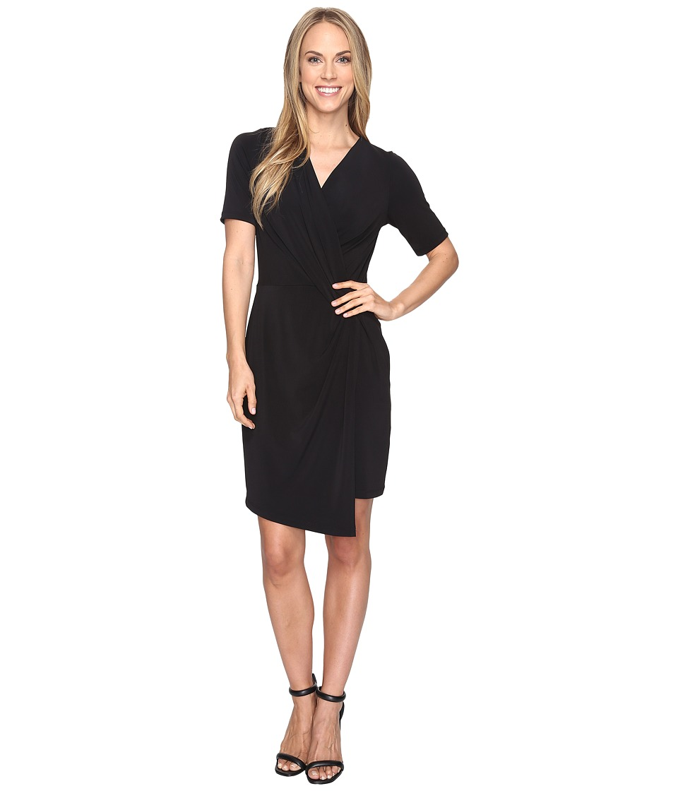 Karen Kane Crossover Drape Dress (Black) Women
