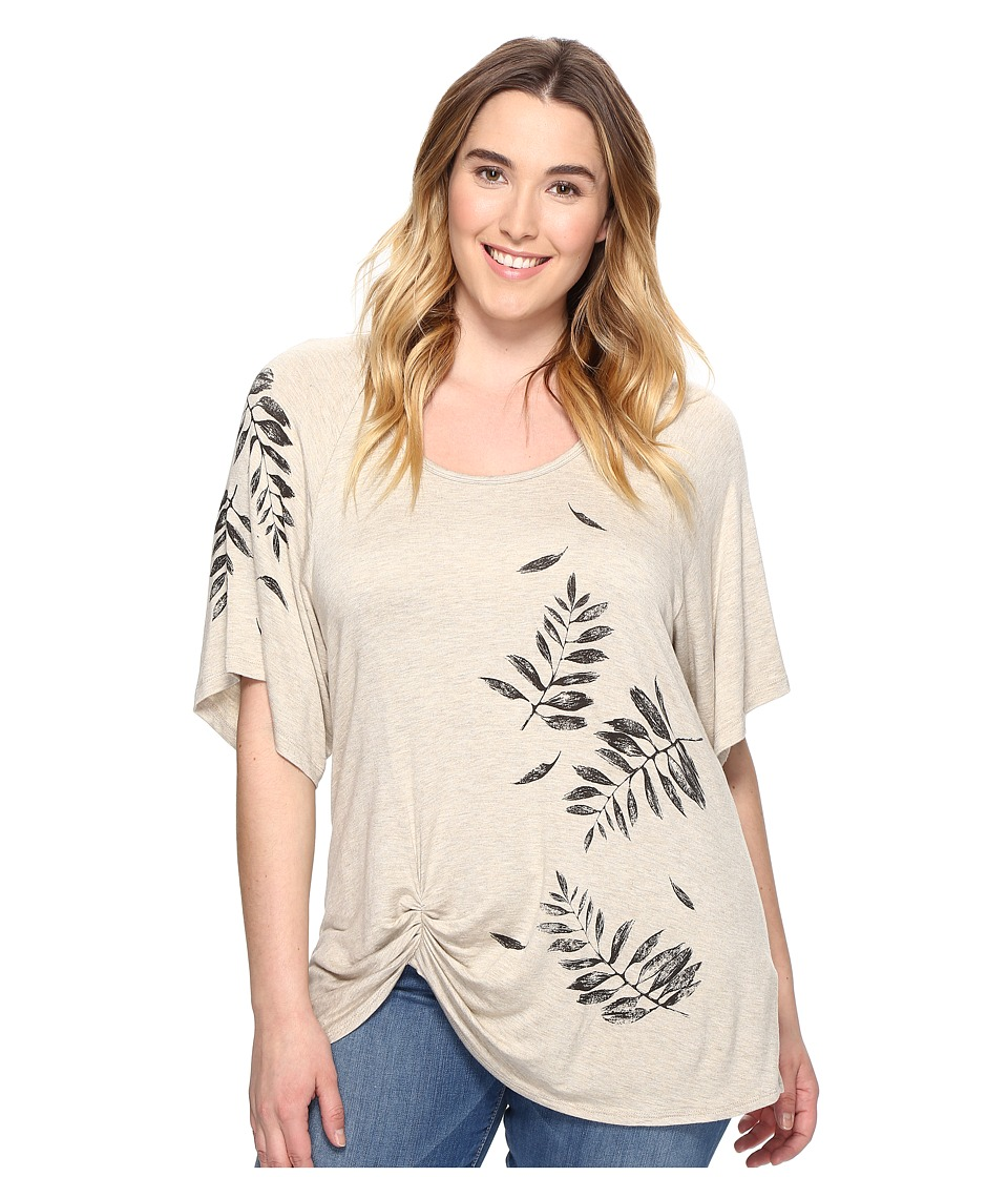 Karen Kane Plus - Plus Size Leaf Print Pick Up Top (Oat) Women's Clothing