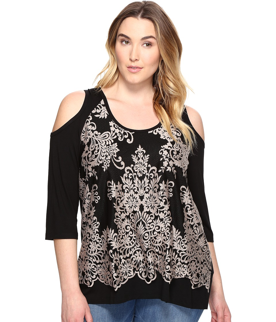 Karen Kane Plus - Plus Size Lace Overlay Cold Shoulder Top (Sand) Women's Clothing