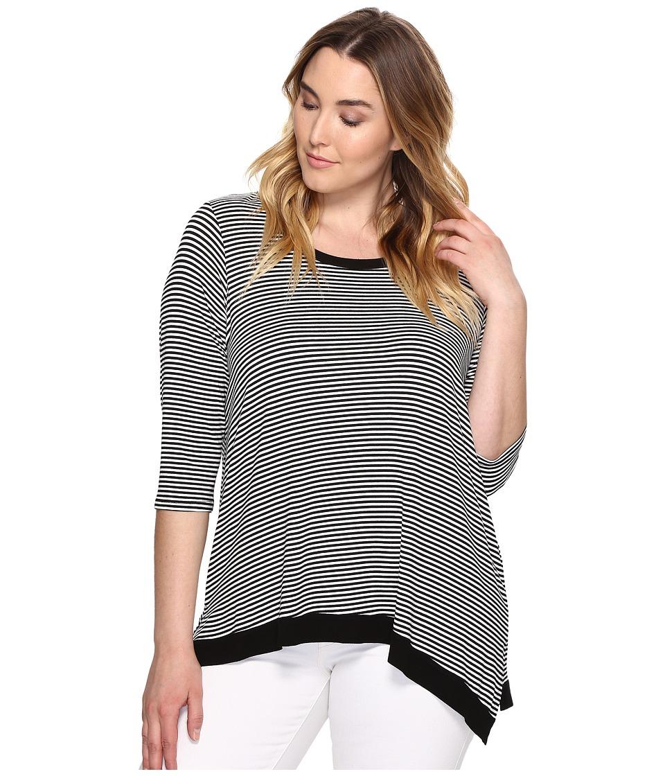 Karen Kane Plus - Plus Size 3/4 Sleeve Asymmetric Hem Top (Stripe) Women's Clothing