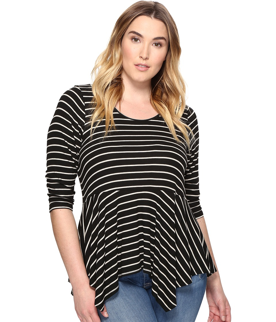 Karen Kane Plus - Plus Size Peplum Top (Stripe) Women's Clothing