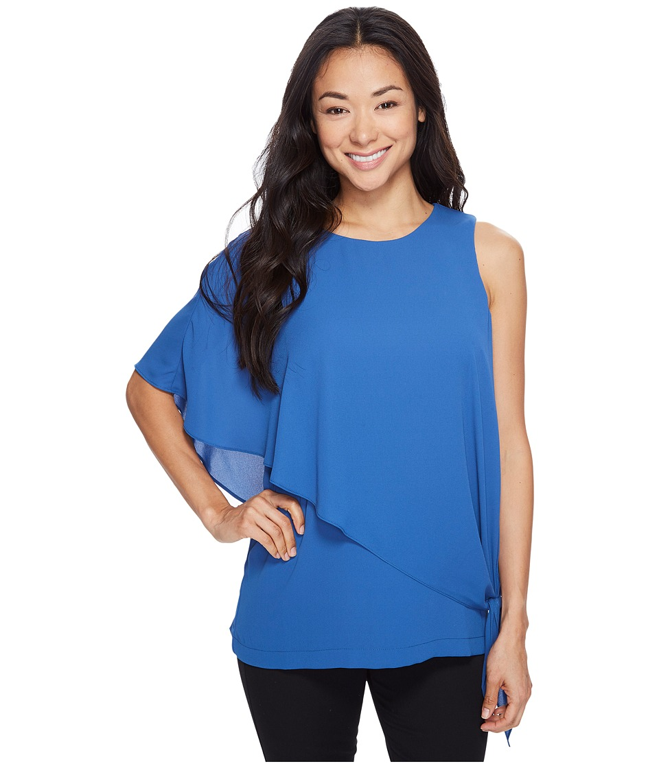 Karen Kane - Asymmetric Side Tie Top (Indigo) Women's Clothing