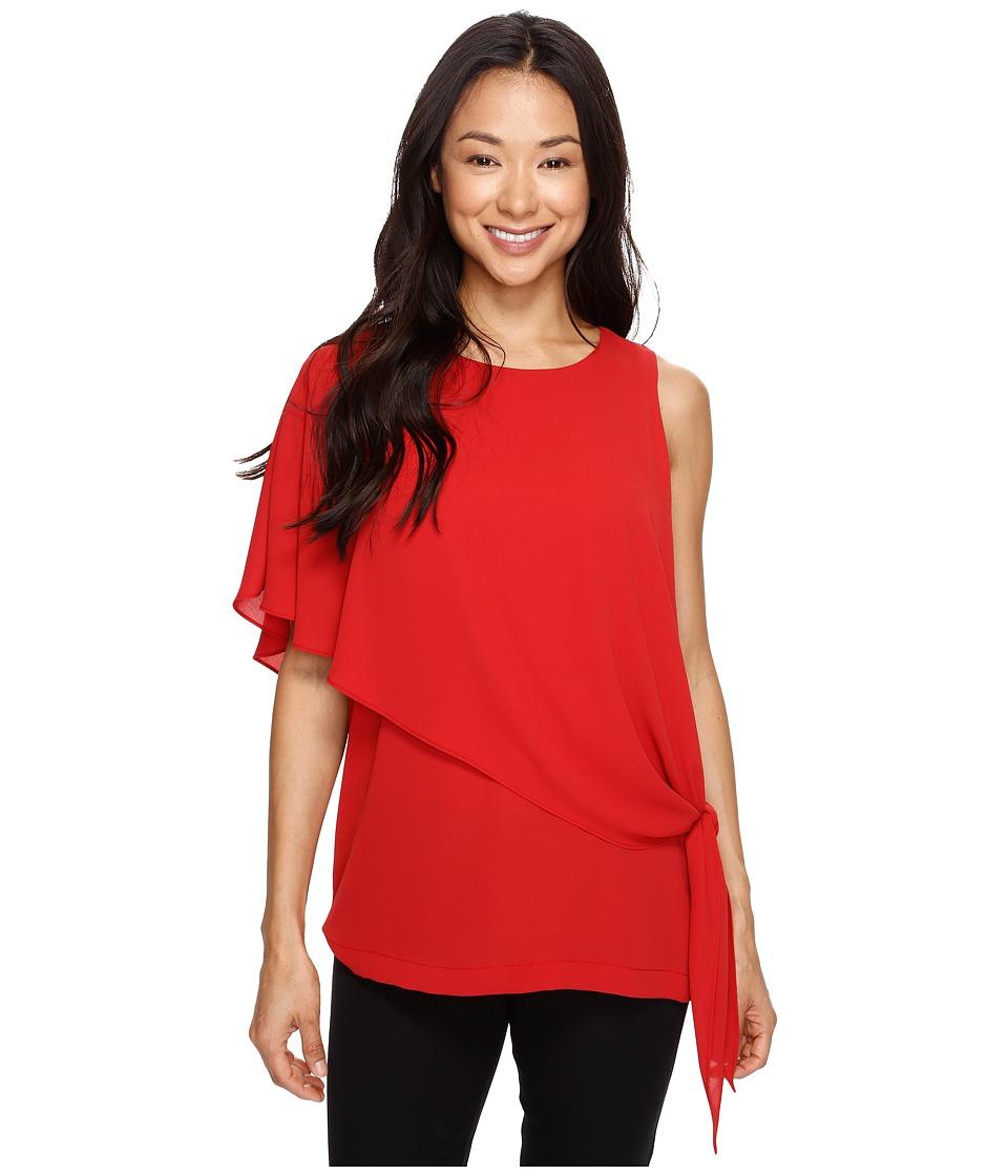 Karen Kane - Asymmetric Side Tie Top (Tomato) Women's Clothing