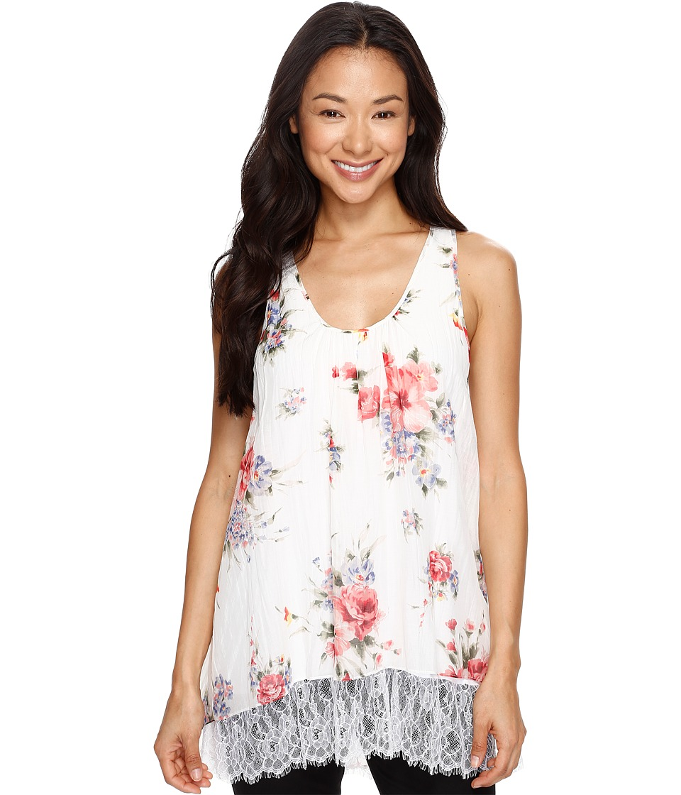 Karen Kane - Lace Hem Tank Top (Floral) Women's Clothing