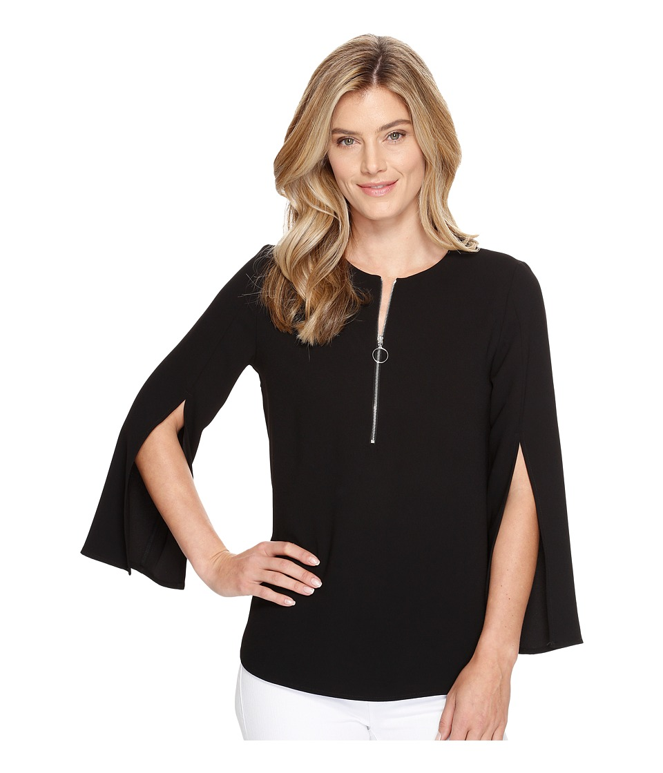 Karen Kane - Open Sleeve Zip-Up Top (Black) Women's Clothing