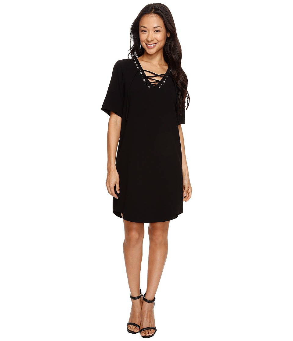 Karen Kane - Lace-Up Shirttail Dress (Black) Women's Dress