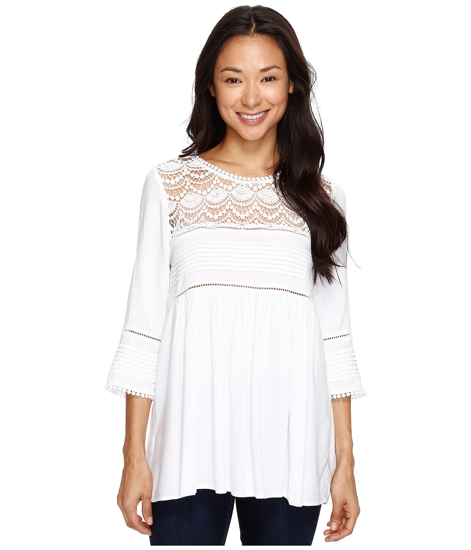 Karen Kane - Crochet Trim Top (Off-White) Women's Clothing
