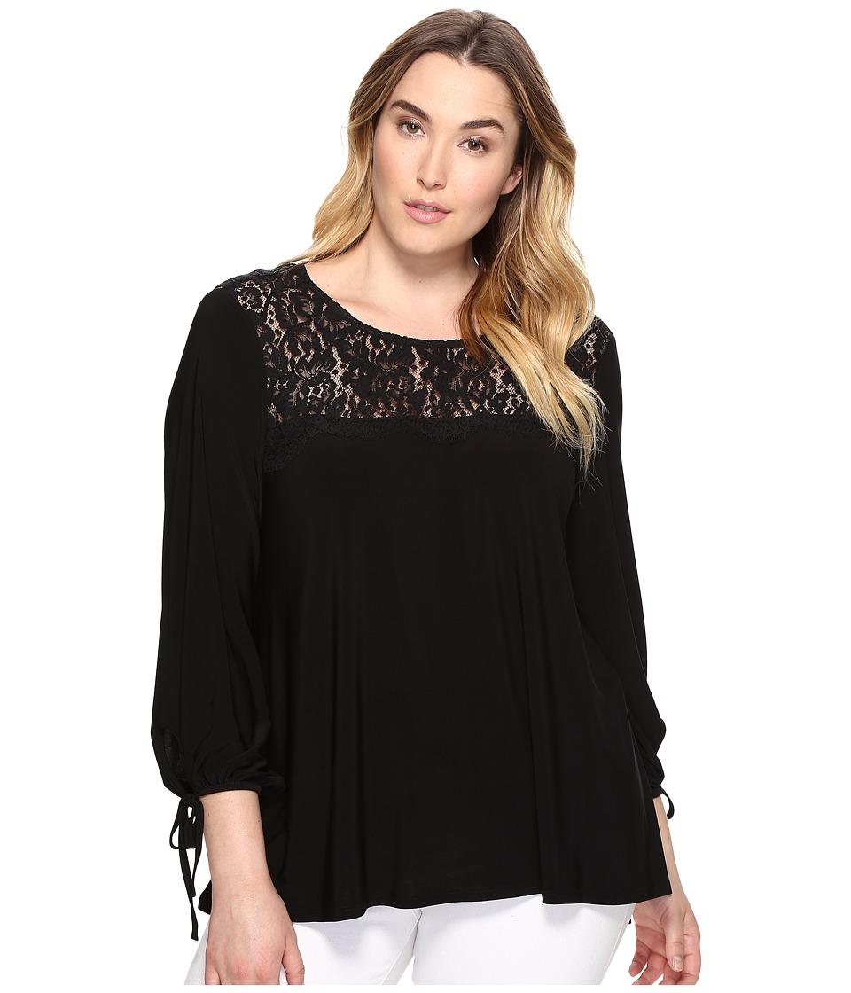 Karen Kane Plus - Plus Size Lace Yoke Tie Sleeve Top (Black) Women's Clothing