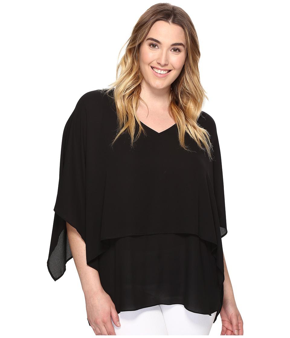 Karen Kane Plus - Plus Size Double Layer V-Neck Top (Black) Women's Clothing