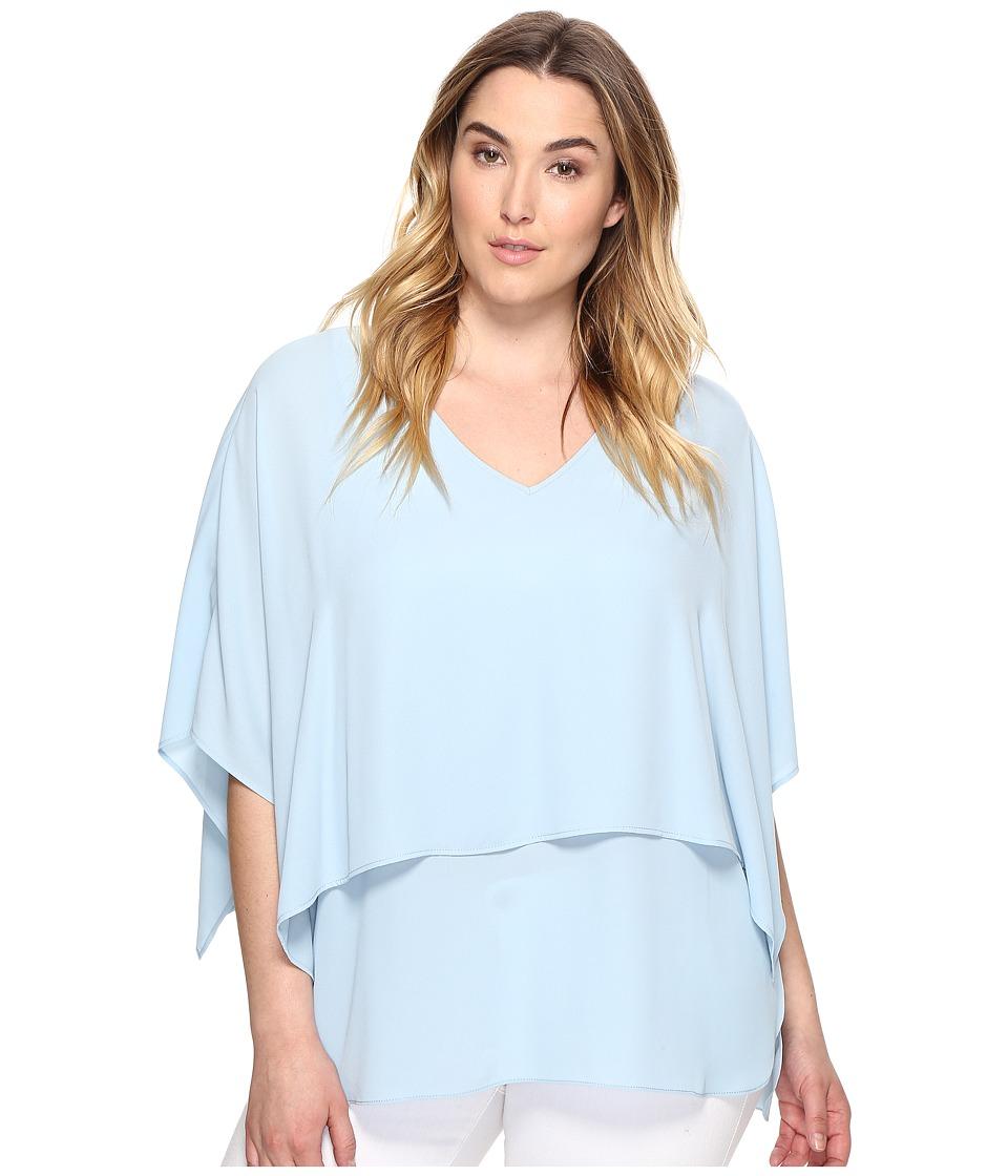 Karen Kane Plus - Plus Size Double Layer V-Neck Top (Sea) Women's Clothing