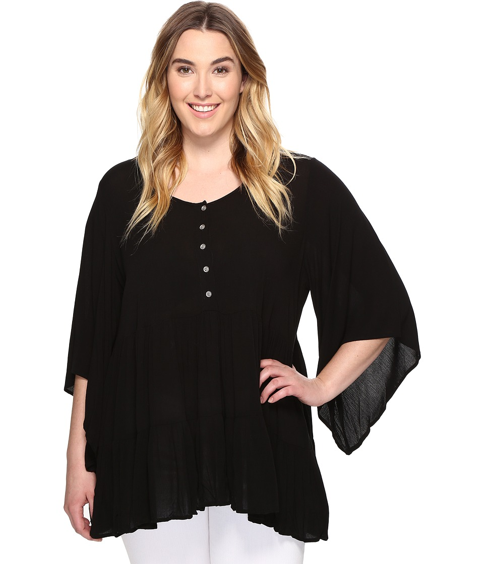 Karen Kane Plus - Plus Size Tiered Ruffle Top (Black) Women's Clothing